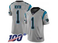 #1 Limited Cam Newton Silver Football Men's Jersey Carolina Panthers Inverted Legend Vapor Rush 100th Season