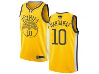 #10  Tim Hardaway Yellow Basketball Men's Jersey Golden State Warriors Earned Edition 2019 Basketball Finals Bound