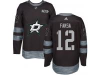 #12 Authentic Radek Faksa Black Adidas NHL Men's Jersey Dallas Stars 1917-2017 100th Anniversary