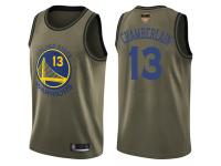 #13 Swingman Wilt Chamberlain Green Basketball Men's Jersey Golden State Warriors Salute to Service 2019 Basketball Finals Bound