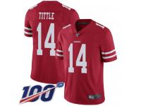 #14 Limited Y.A. Tittle Red Football Home Men's Jersey San Francisco 49ers Vapor Untouchable 100th Season