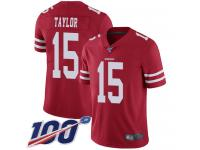 #15 Limited Trent Taylor Red Football Home Men's Jersey San Francisco 49ers Vapor Untouchable 100th Season