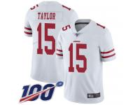 #15 Limited Trent Taylor White Football Road Men's Jersey San Francisco 49ers Vapor Untouchable 100th Season