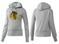 2015 NHL Chicago Blackhawks Women Pullover Hoodie Gray