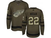 #22 Adidas Authentic Wade Megan Men's Green NHL Jersey - Detroit Red Wings Salute to Service