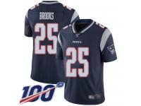 #25 Limited Terrence Brooks Navy Blue Football Home Men's Jersey New England Patriots Vapor Untouchable 100th Season