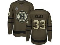 #33 Zdeno Chara Green Hockey Men's Jersey Boston Bruins Salute to Service 2019 Stanley Cup Final Bound
