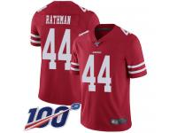 #44 Limited Tom Rathman Red Football Home Men's Jersey San Francisco 49ers Vapor Untouchable 100th Season