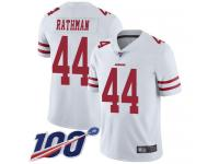 #44 Limited Tom Rathman White Football Road Men's Jersey San Francisco 49ers Vapor Untouchable 100th Season