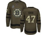#47 Torey Krug Green Hockey Men's Jersey Boston Bruins Salute to Service 2019 Stanley Cup Final Bound