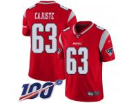 #63 Limited Yodny Cajuste Red Football Men's Jersey New England Patriots Inverted Legend 100th Season