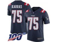 #75 Limited Ted Karras Navy Blue Football Men's Jersey New England Patriots Rush Vapor Untouchable 100th Season