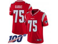#75 Limited Ted Karras Red Football Men's Jersey New England Patriots Inverted Legend 100th Season
