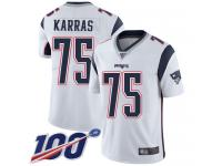 #75 Limited Ted Karras White Football Road Men's Jersey New England Patriots Vapor Untouchable 100th Season