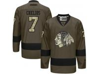 Blackhawks #7 Chris Chelios Green Salute to Service Stitched NHL Jersey