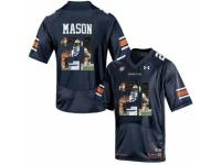 Men Auburn Tigers #21 Tre Mason Navy With Portrait Print College Football Jersey