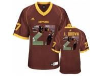 Men Cent. Michigan Chippewas #27 Antonio Brown Red With Portrait Print College Football Jersey
