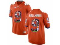 Men Clemson Tigers #9 Wayne Gallman II Orange With Portrait Print College Football Jersey