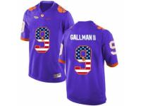 Men Clemson Tigers #9 Wayne Gallman II Purple USA Flag College Football Jersey