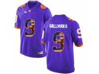 Men Clemson Tigers #9 Wayne Gallman II Purple With Portrait Print College Football Jersey