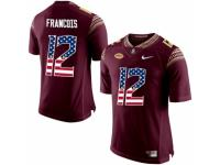 Men Florida State Seminoles #12 Deondre Francois Red USA Flag College Football Limited Jersey