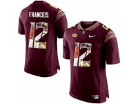 Men Florida State Seminoles #12 Deondre Francois Red With Portrait Print College Football Jersey