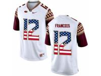 Men Florida State Seminoles #12 Deondre Francois White USA Flag College Football Limited Jersey