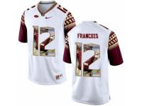 Men Florida State Seminoles #12 Deondre Francois White With Portrait Print College Football Jersey