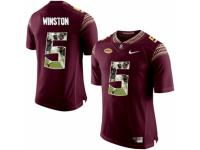 Men Florida State Seminoles #5 Jameis Winston Red With Portrait Print College Football Jersey