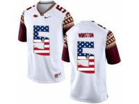 Men Florida State Seminoles #5 Jameis Winston White USA Flag College Football Limited Jersey