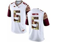 Men Florida State Seminoles #5 Jameis Winston White With Portrait Print College Football Jersey