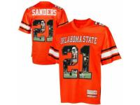 Men Oklahoma State Cowboys #21 Barry Sanders Orange With Portrait Print College Football Jersey