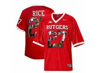 Men Rutgers Scarlet Knights #27 Ray Rice Big East Patch Red With Portrait Print College Football Jersey