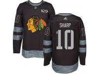 Men's Adidas NHL Chicago Blackhawks #10 Patrick Sharp Authentic Jersey Black 1917-2017 100th Anniversary Adidas