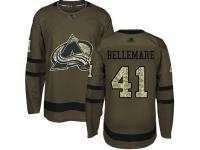 Men's Hockey Colorado Avalanche #41 Pierre-Edouard Bellemare Jersey Green Salute to Service