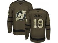 Men's New Jersey Devils #19 Travis Zajac Adidas Green Authentic Salute To Service NHL Jersey