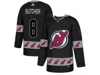 Men's New Jersey Devils #8 Will Butcher Adidas Black Authentic Team Logo Fashion NHL Jersey