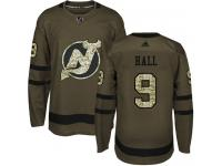 Men's New Jersey Devils #9 Taylor Hall Adidas Green Authentic Salute To Service NHL Jersey