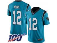 Nike Panthers #12 DJ Moore Blue Men's Stitched NFL Limited Rush 100th Season Jersey