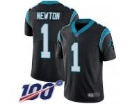 Panthers #1 Cam Newton Black Team Color Men's Stitched Football 100th Season Vapor Limited Jersey