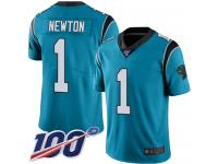 Panthers #1 Cam Newton Blue Alternate Men's Stitched Football 100th Season Vapor Limited Jersey