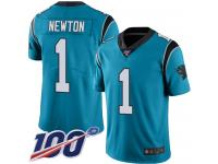 Panthers #1 Cam Newton Blue Men's Stitched Football Limited Rush 100th Season Jersey