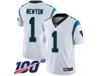 Panthers #1 Cam Newton White Men's Stitched Football 100th Season Vapor Limited Jersey